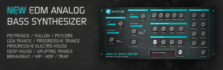 Analog bass Unit N4 synthesizer usage in various music styles