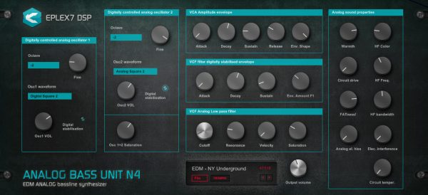 Analog Bass Unit N4 bassline synthesizer for fat, warm bass sound