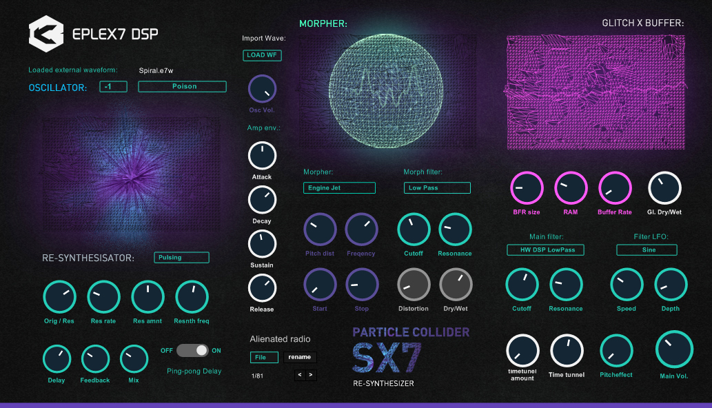 Eplex7 Particle Collider SX7 hybrid experimental fx synthesizer VSTi plug-in