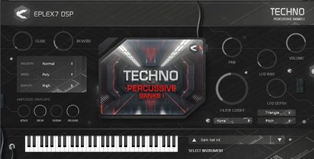 Techno percussive plugin containing melodic percussions and drums
