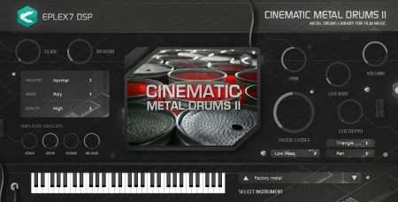 Eplex7 DSP Cinematic Metal Drums 2 industrial drum sounds