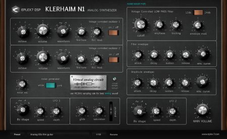 Klerhaim N1 analog VST synthesizer with virtual circuit emulation