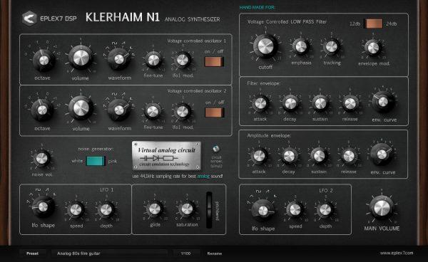 Klerhaim N1 analog VST synthesizer with virtual circuit emulation