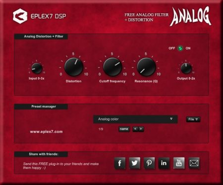 Free Analog filter plugin analog distortion vst