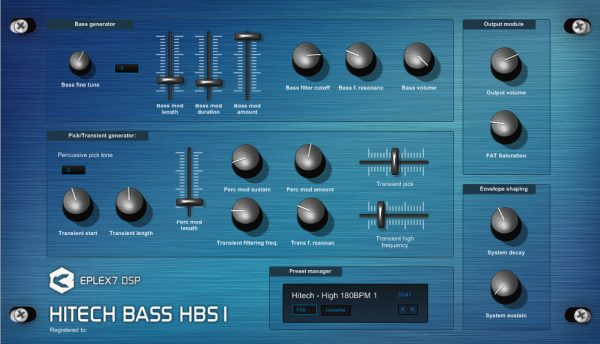 Hitech Bass HBS1 advanced bassline VST plugin synthesizer