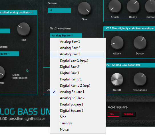 Analog Bass Unit N4 synthesizer oscillator waveforms