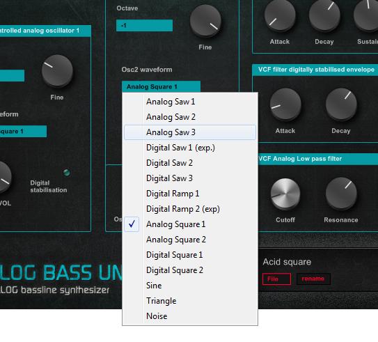 Analog Bass Unit N4 synthesizer oscillator waveforms