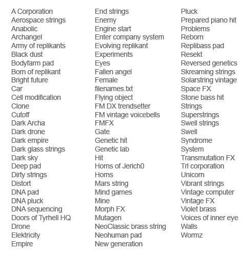 Replikorp 2249 plug-in - List of multi octave instruments