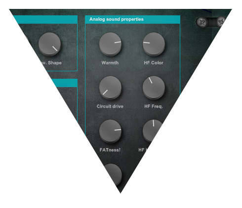 Analog sound emulation technology knobs on Analog Bass Unit N4 plug-in